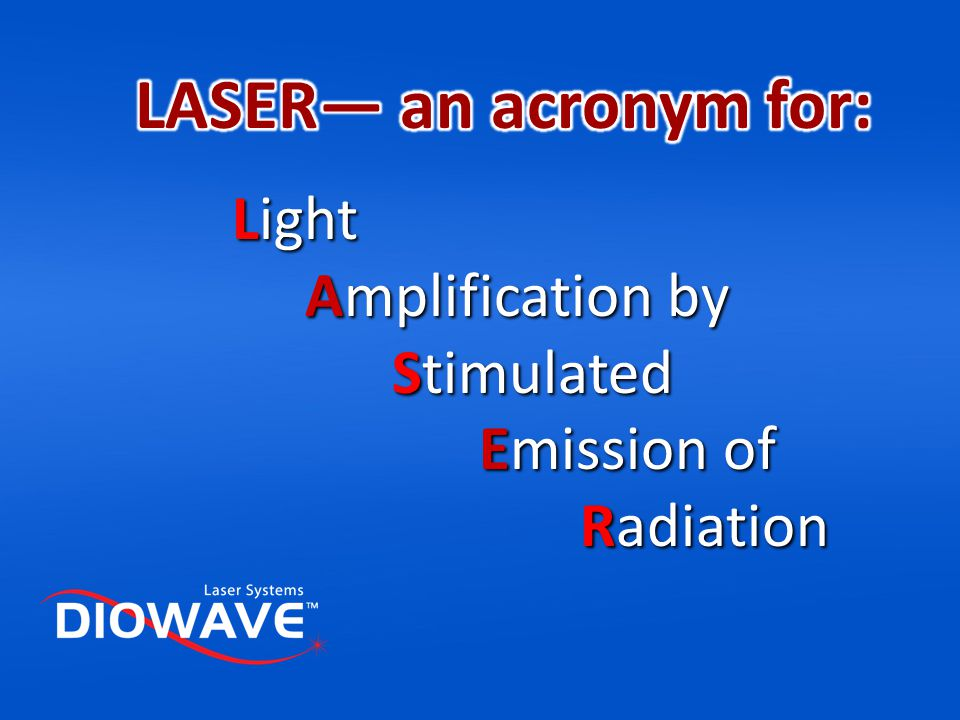 LASER— an acronym for: Light Amplification by Stimulated Emission of