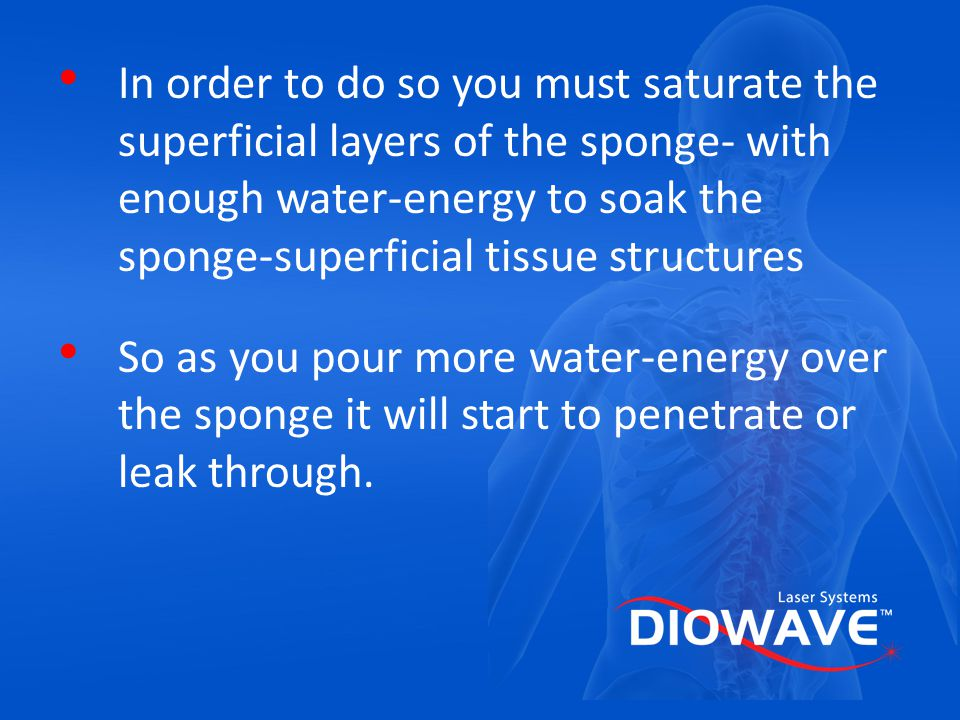 In order to do so you must saturate the superficial layers of the sponge- with enough water-energy to soak the sponge-superficial tissue structures