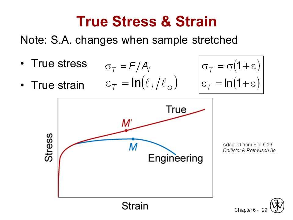 True Stress & Strain Note: S.A. changes when sample stretched