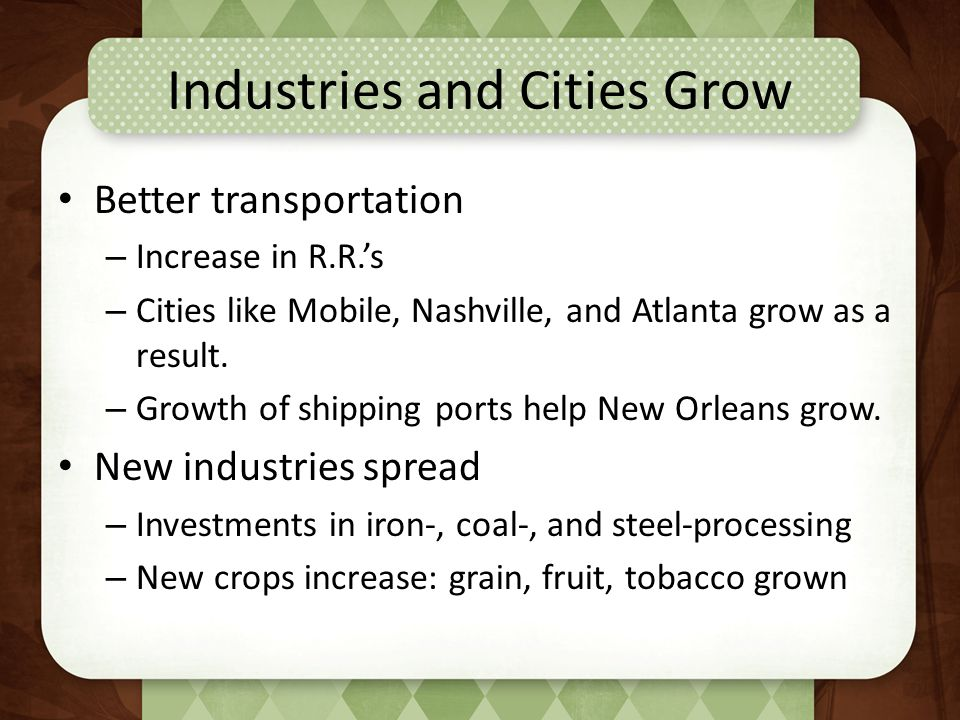 Industries and Cities Grow