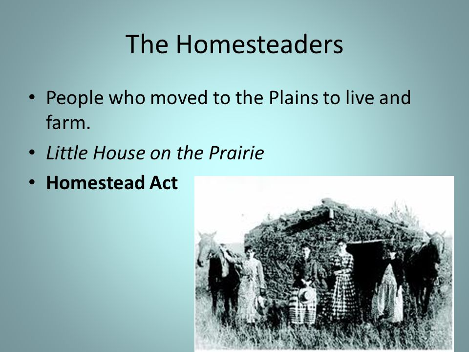 The Homesteaders People who moved to the Plains to live and farm.