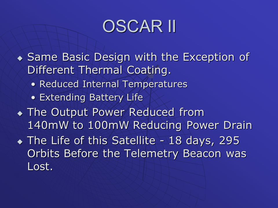 OSCAR II Same Basic Design with the Exception of Different Thermal Coating. Reduced Internal Temperatures.