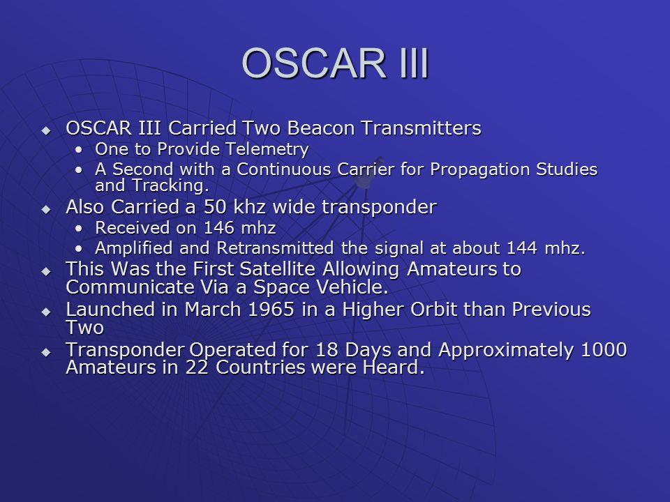 OSCAR III OSCAR III Carried Two Beacon Transmitters