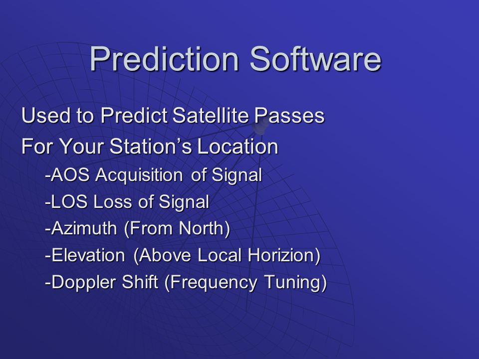 Prediction Software Used to Predict Satellite Passes