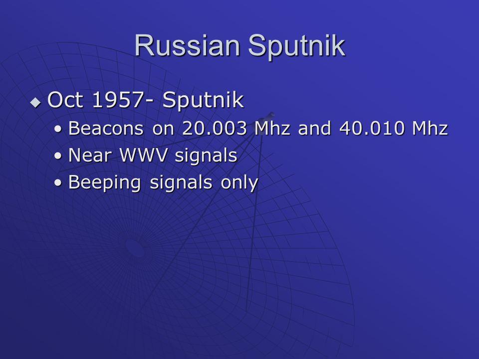 Russian Sputnik Oct 1957- Sputnik Beacons on 20.003 Mhz and 40.010 Mhz