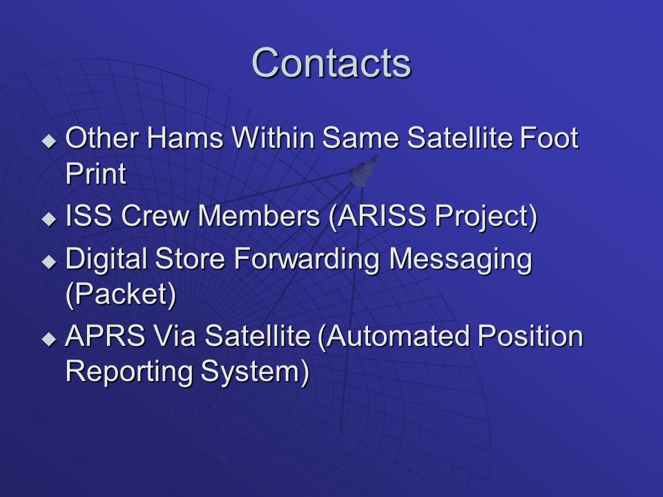 Contacts Other Hams Within Same Satellite Foot Print
