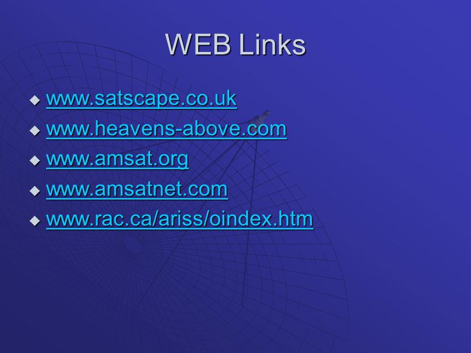 WEB Links www.satscape.co.uk www.heavens-above.com www.amsat.org