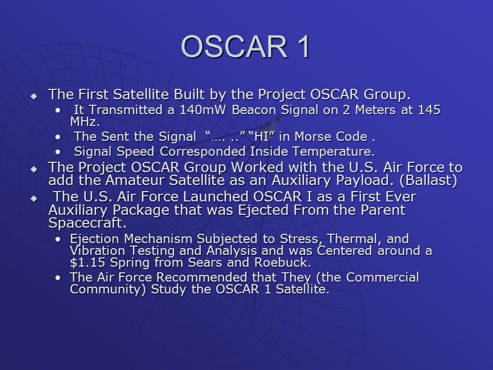 OSCAR 1 The First Satellite Built by the Project OSCAR Group.