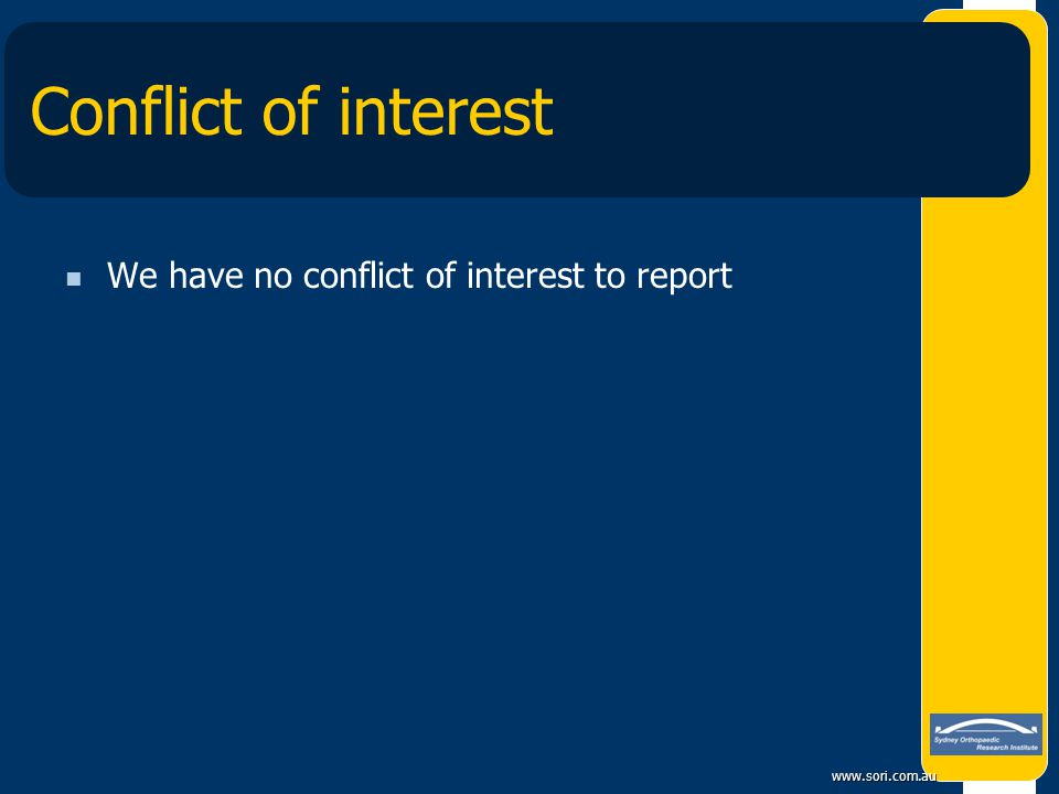 Conflict of interest We have no conflict of interest to report