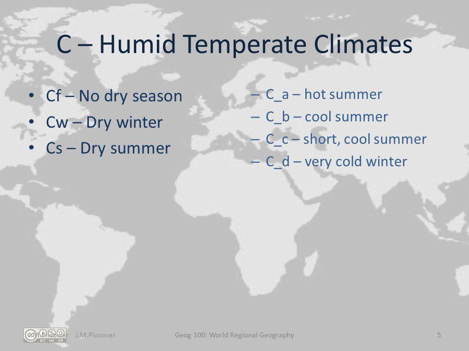 C – Humid Temperate Climates