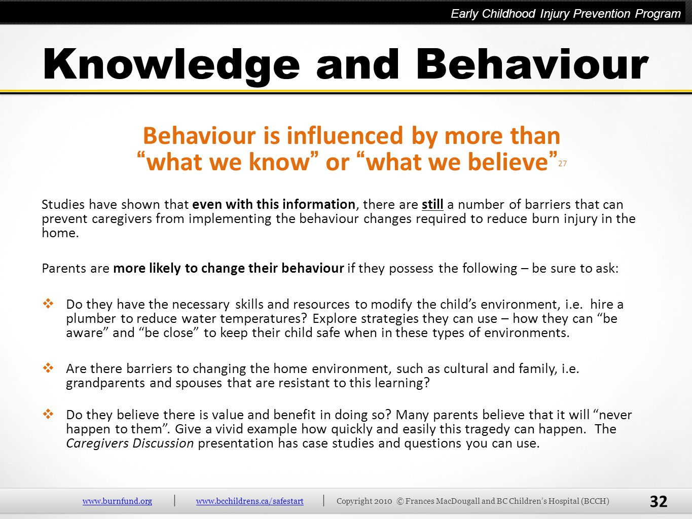 Knowledge and Behaviour