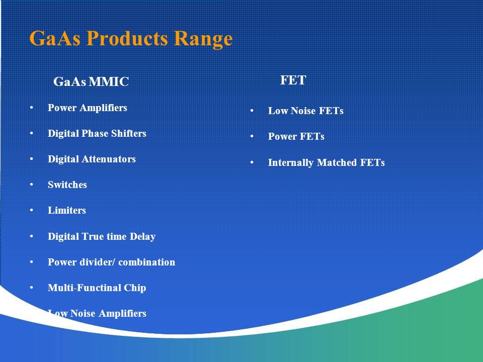 GaAs Products Range GaAs MMIC FET Power Amplifiers Low Noise FETs