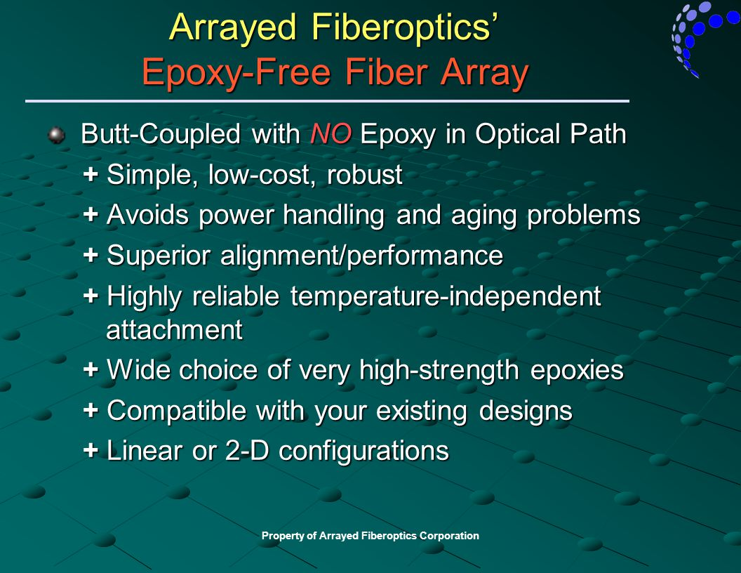 Arrayed Fiberoptics' Epoxy-Free Fiber Array