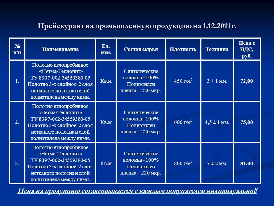 Прейскурант на промышленную продукцию на 1.12.2011 г.