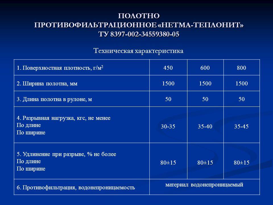 ПОЛОТНО ПРОТИВОФИЛЬТРАЦИОННОЕ «НЕТМА-ТЕПЛОНИТ» ТУ 8397-002-34559380-05