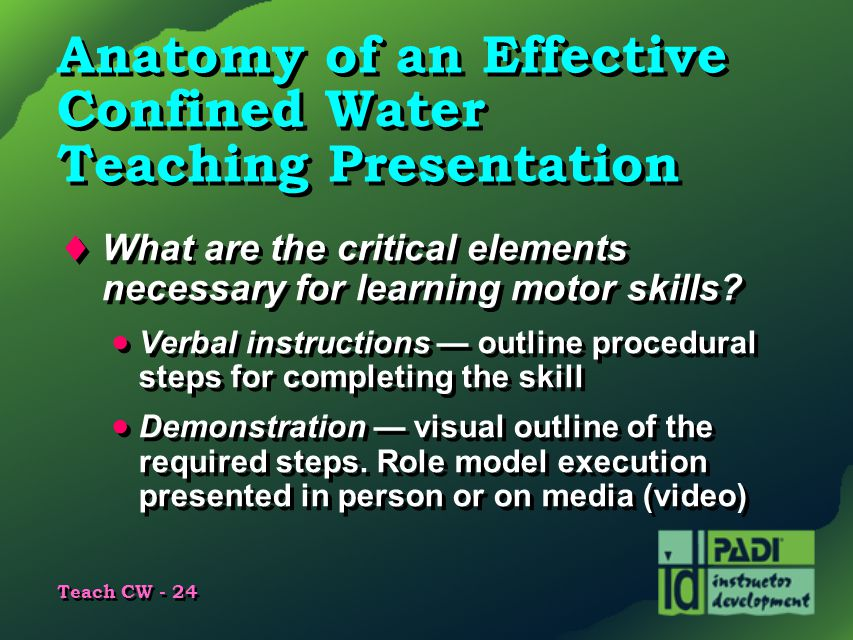 Anatomy of an Effective Confined Water Teaching Presentation