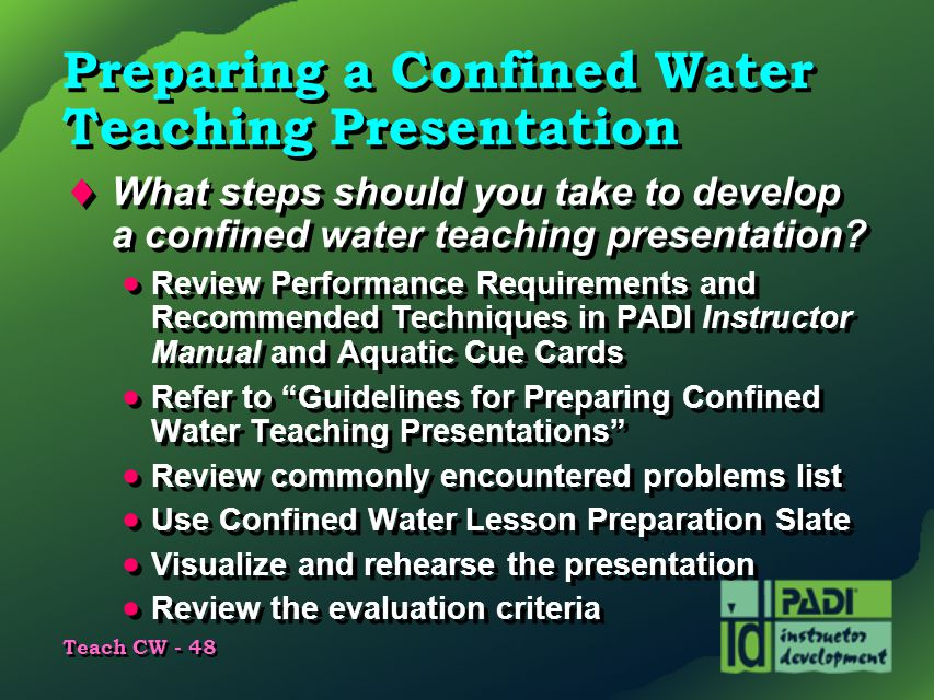 Preparing a Confined Water Teaching Presentation
