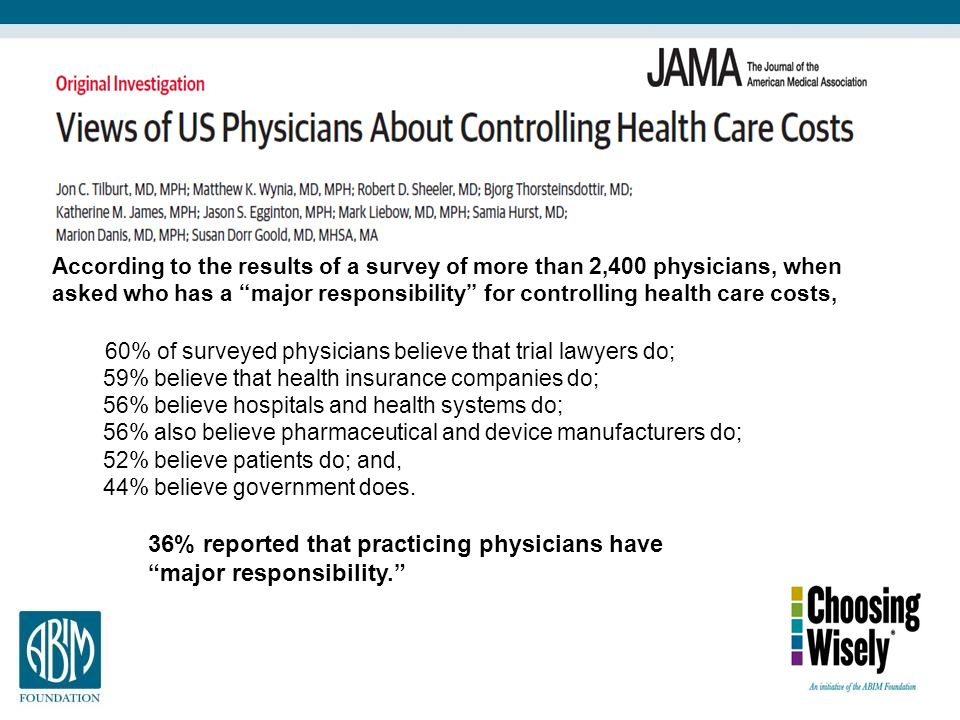60% of surveyed physicians believe that trial lawyers do;