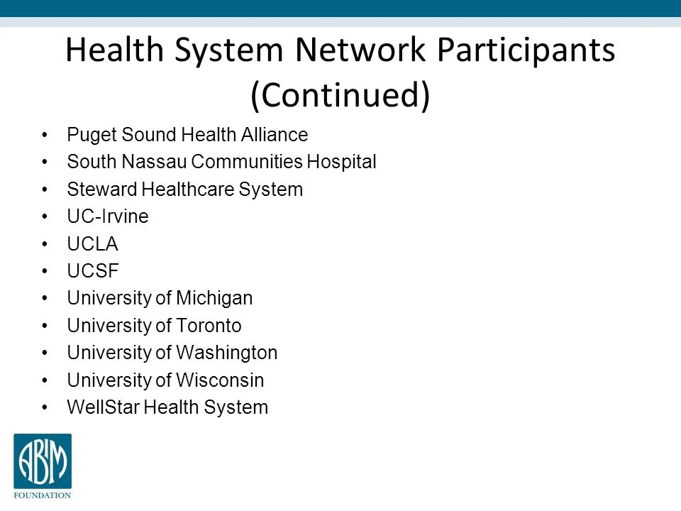 Health System Network Participants (Continued)