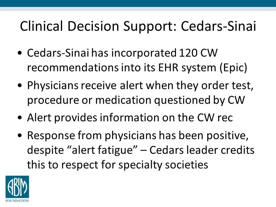 Clinical Decision Support: Cedars-Sinai