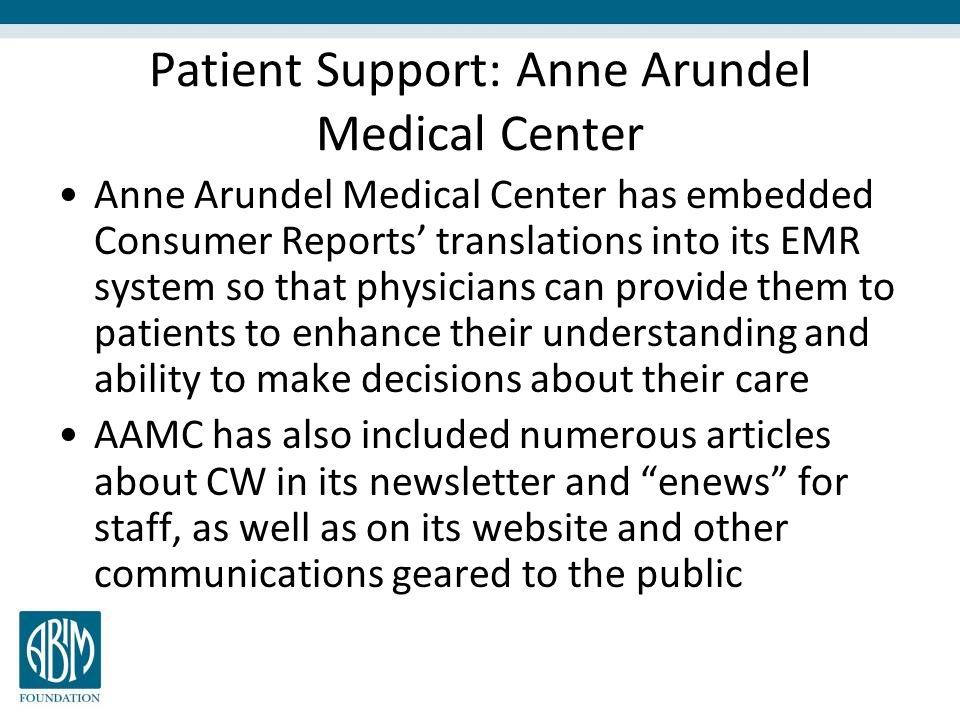 Patient Support: Anne Arundel Medical Center
