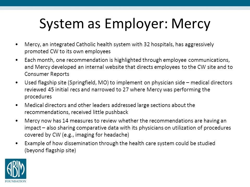 System as Employer: Mercy