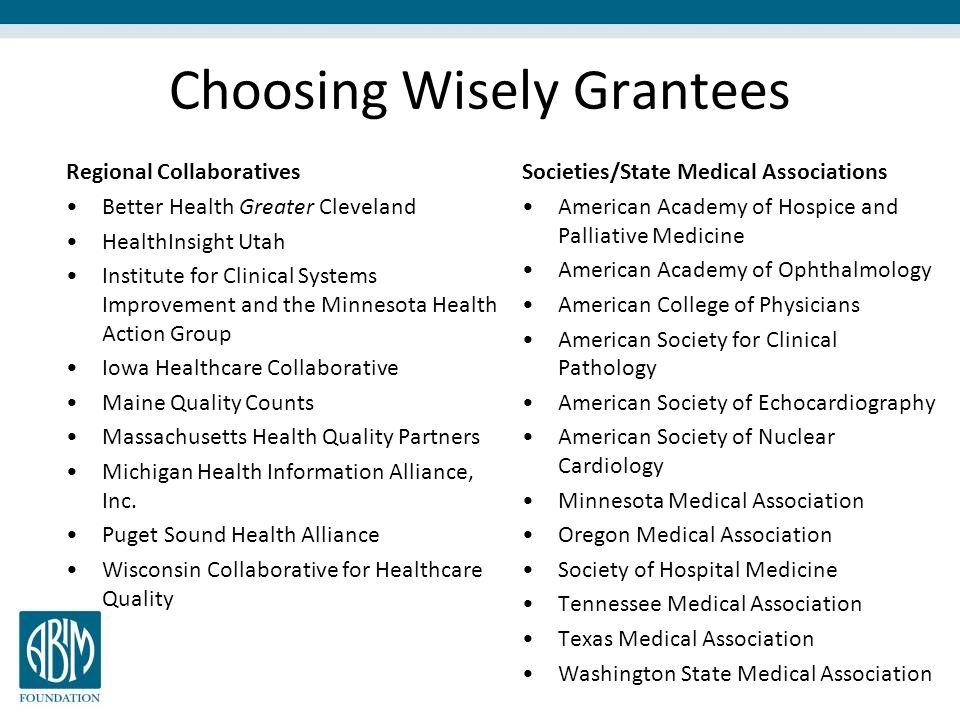Choosing Wisely Grantees
