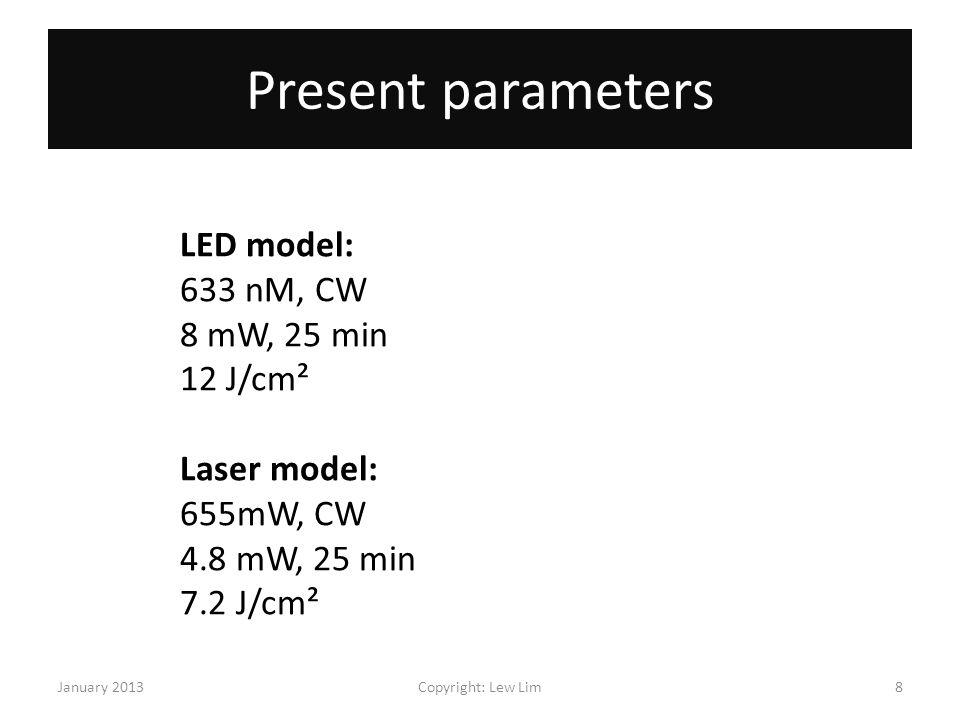 Present parameters LED model: 633 nM, CW 8 mW, 25 min 12 J/cm²