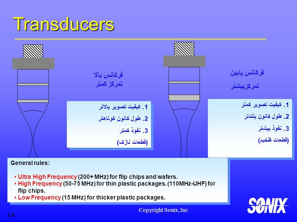 Transducers فرکانس پایین فرکانس بالا تمرکزبیشتر تمرکز کمتر
