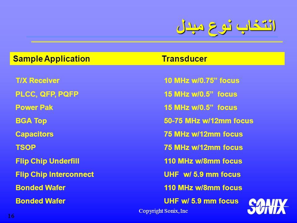انتخاب نوع مبدل Sample Application Transducer
