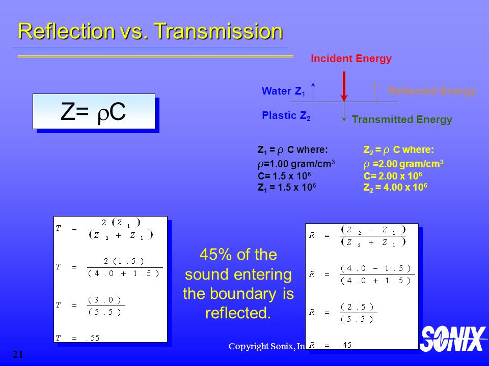 45% of the sound entering the boundary is reflected.