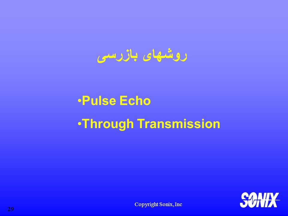 روشهای بازرسی Pulse Echo Through Transmission Copyright Sonix, Inc