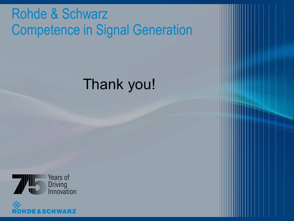 Rohde & Schwarz Competence in Signal Generation