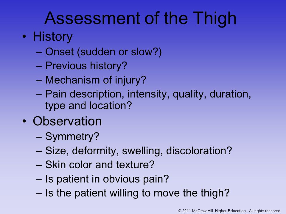Assessment of the Thigh