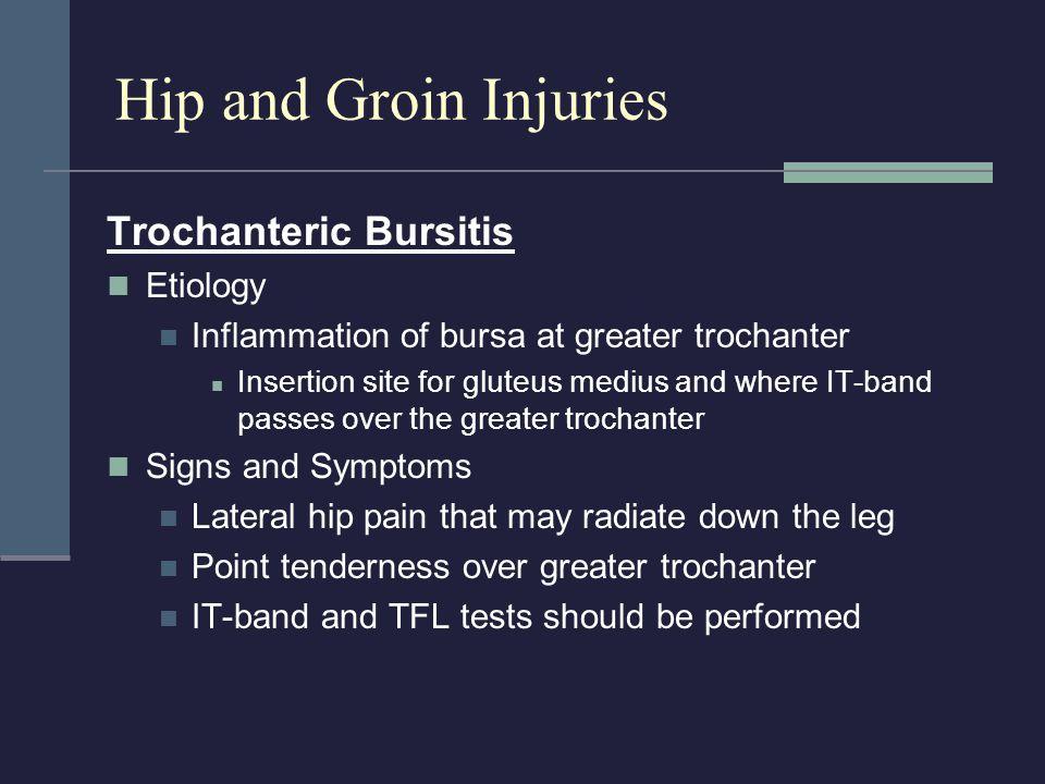 Hip and Groin Injuries Trochanteric Bursitis Etiology