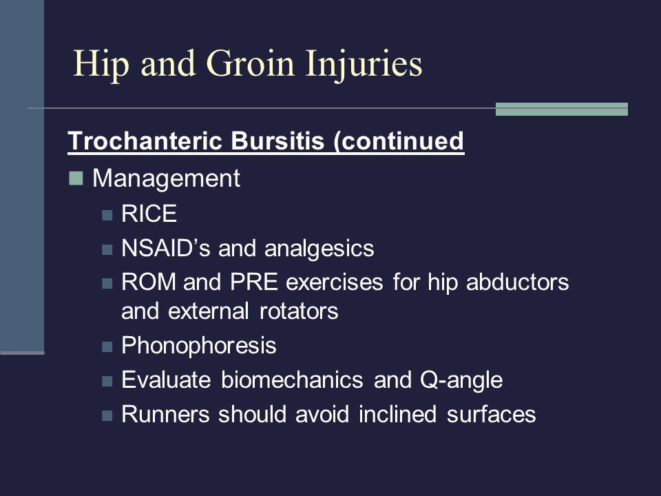 Hip and Groin Injuries Trochanteric Bursitis (continued Management