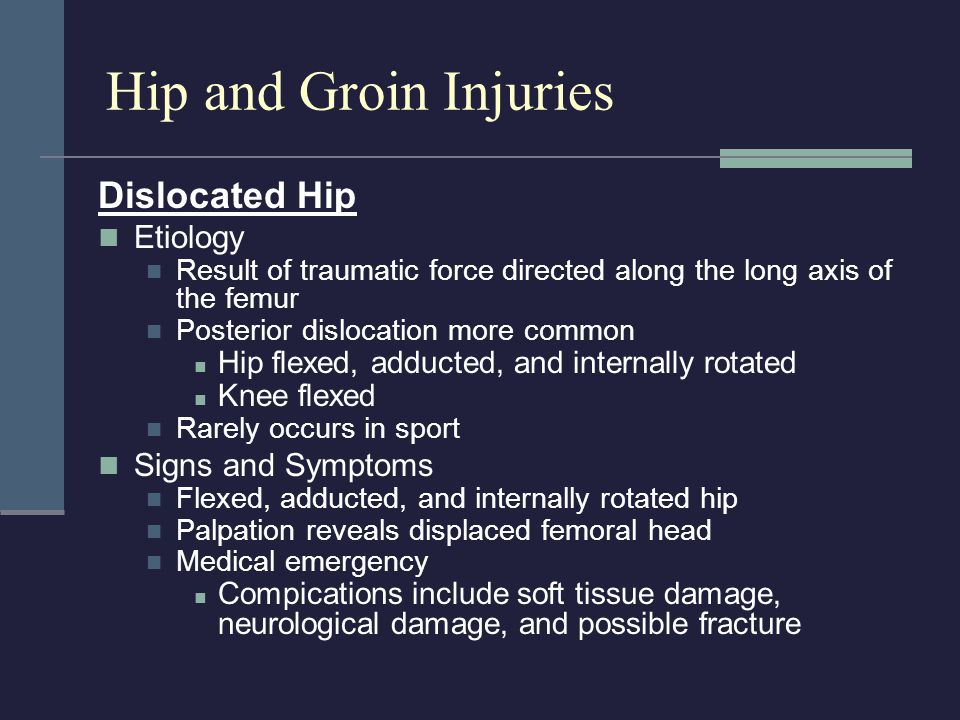 Hip and Groin Injuries Dislocated Hip Etiology Signs and Symptoms