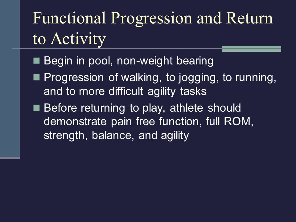 Functional Progression and Return to Activity