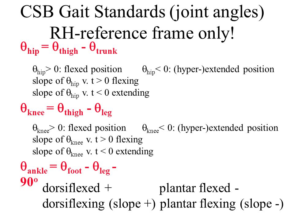 CSB Gait Standards (joint angles) RH-reference frame only!
