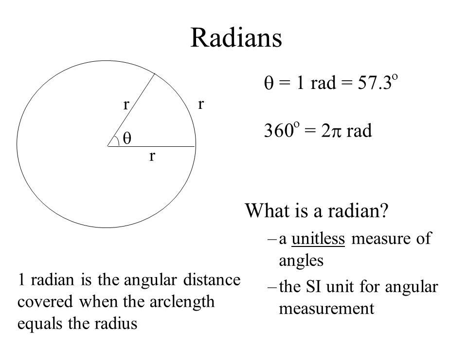 Radians What is a radian q = 1 rad = 57.3 360 = 2 p rad