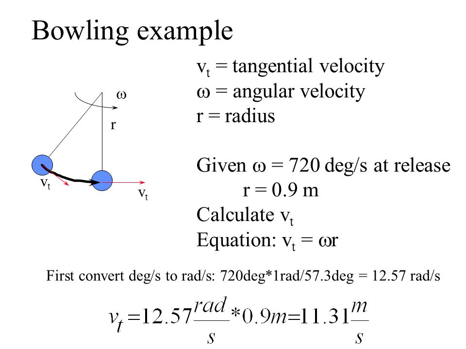 Bowling example vt = tangential velocity w = angular velocity