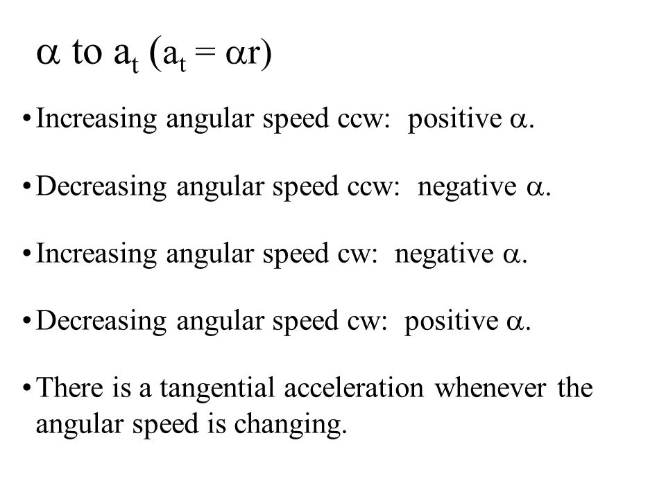 a to at (at = ar) Increasing angular speed ccw: positive a.