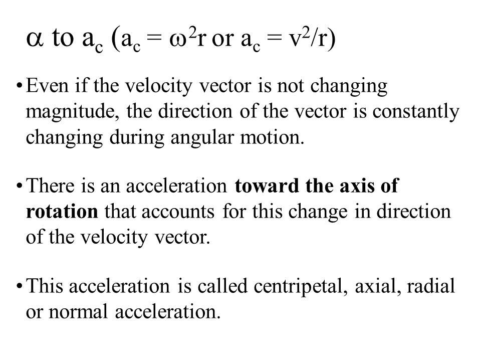 a to ac (ac = w2r or ac = v2/r)