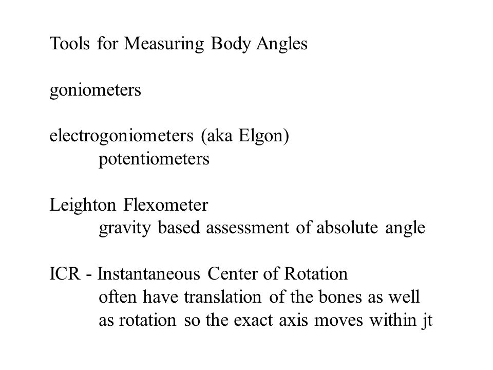 Tools for Measuring Body Angles