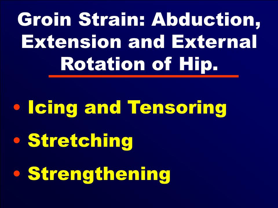 Groin Strain: Abduction, Extension and External Rotation of Hip.