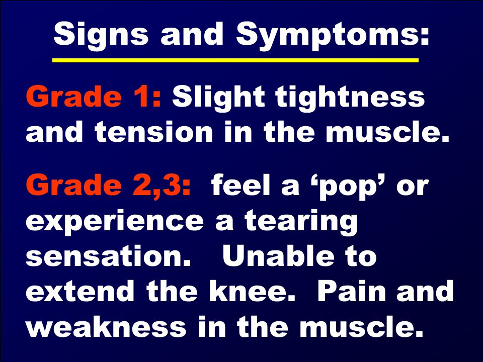 Signs and Symptoms: Grade 1: Slight tightness and tension in the muscle.