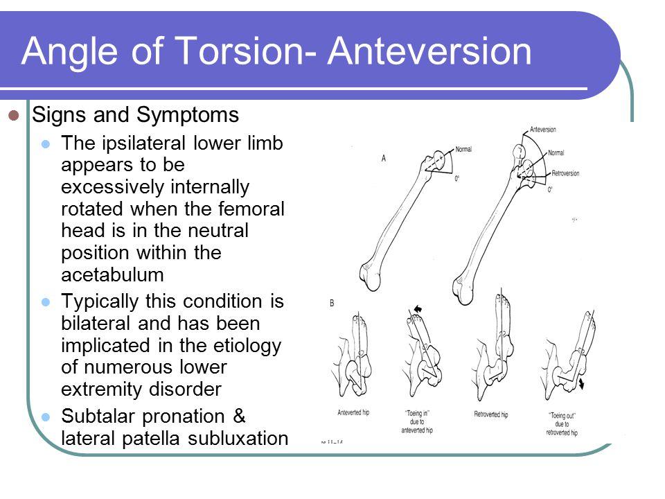Angle of Torsion- Anteversion