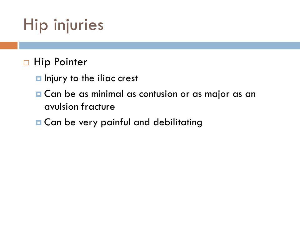 Hip injuries Hip Pointer Injury to the iliac crest