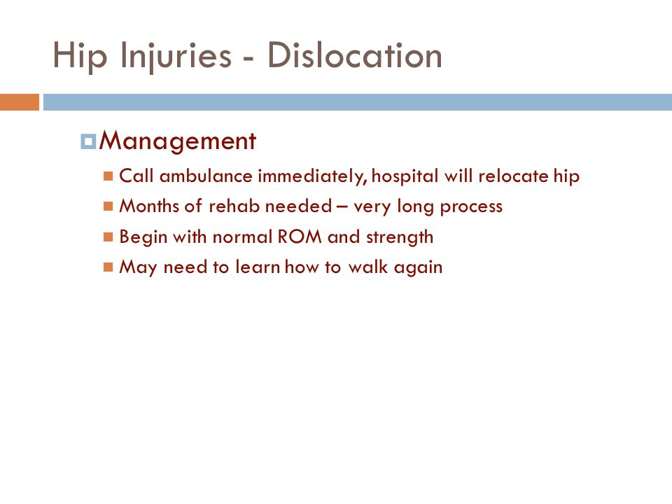 Hip Injuries - Dislocation