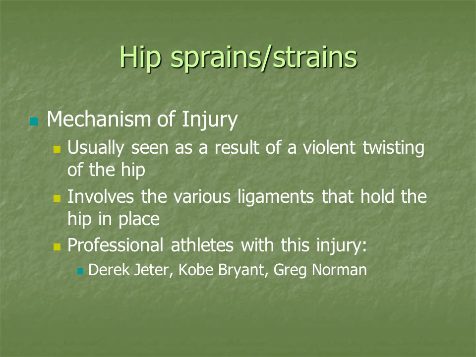 Hip sprains/strains Mechanism of Injury